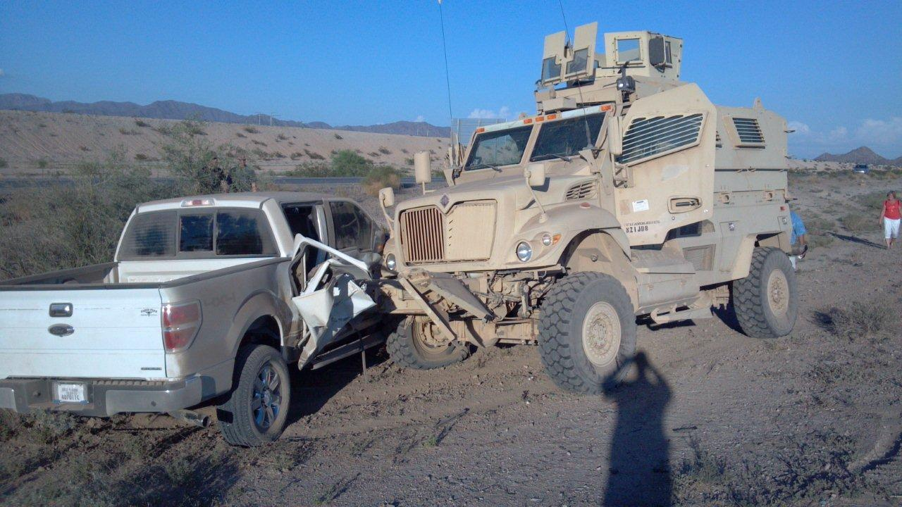 Civilian Control Over Military >> Unlicensed Banning Police Officer speeds, crashes Armored Military Combat Vehicle | THE BANNING ...