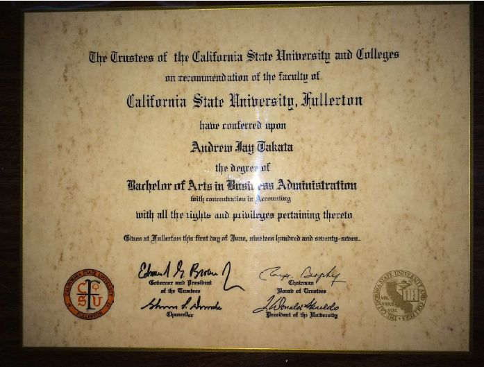 Takata provided this image of a stone certificate as evidence that he indeed has a Bachelors Degree (click image to enlarge)
