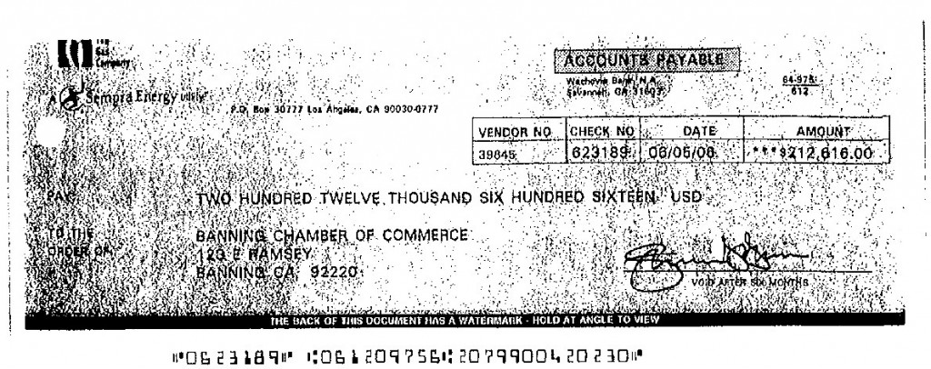 Gas Company check to the Chamber for $212,616