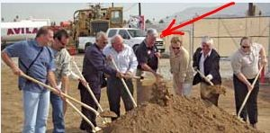 2006 : Art Welch (arrow) seen here participating in the ground breaking for the Banning Business Center - Photo Record Gazette (2006)